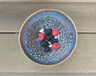 Ceramic Berry Bowl, Handmade Berry Strainer in Variegated Grey Blue Porcelain Home Decor, Artisan Pottery by Licia Lucas Pfadt