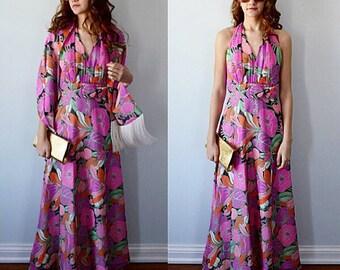 Vintage 1970s Myra Originals Halter Dress with Shawl, Halter Dress, Vintage Dress, 1970s Dress, Casual Dress, Myra Original