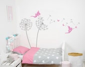 Nursery Wall Decals Personalized Name Tree Wall Decal Dandelions With Fairies And Butterflies Wall Decals Choose Your Own Name Wall Decal