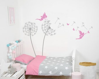 Nursery Wall Decals Kids Tree Dandelions With Fairy Wall Decals Tree With Fairies Wall Decor Kids Girls