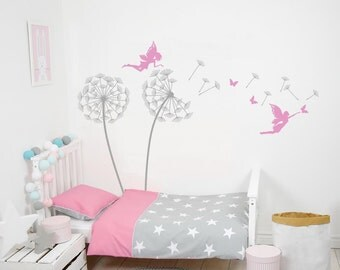 Nursery Wall Decals Kids Tree Dandelions With Fairy Wall Decals Tree With Fairies  Wall Decor Kids Part 73