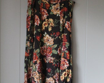 Vintage Rayon Floral Maxi Skirt Fall Colors White Stag Flowy High Waisted style Size Large