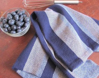 Rustic French Country Kitchen Towel, Modern Farmhouse Decor Chef Towel, Blue Hand Woven Cotton Towel Gourmet Cook Gift, Kitchen Cooking Gift