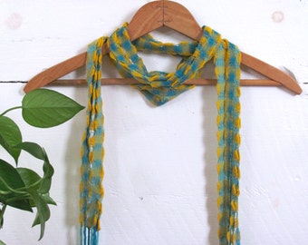 Skinny Spring Summer Boho Chic Scarf, Country Club Beach Cocktail Fashion, Tropical Turquoise Blue & Gold Hand Woven Cotton Lattice Scarf