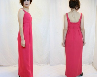 Fuchsia Emma Domb Formal Dress Pink Vintage Retro 60s Mod Empire Waist Gorgeous Crepe California Prom Evening Party Holiday Bridesmaid