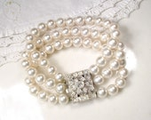 Vintage Art Deco Glass Pearl Bracelet, 3 Strand Ornate Rhinestone Clasp Ivory Pearl Bridal Bracelet 1920s Gatsby Vintage Wedding Jewelry
