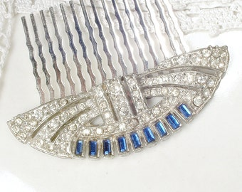 Antique Art Deco Sapphire Blue Rhinestone Hair Comb Silver Navy Bridal Hairpiece 1920 Downton Abbey Gatsby Flapper Vintage Wedding Accessory