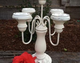 Candelabra Candleabra 5 arm Vintage Heirloom White Wedding