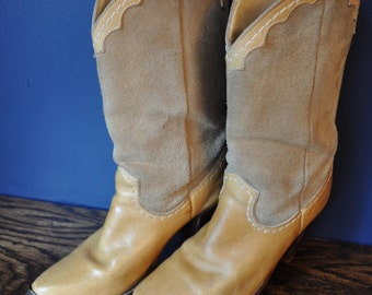 Vintage Zodiac Tan Leather and Suede Womens Boots sz. 7