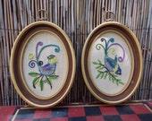 Pair of Oval Framed Crewel Embroidery Fancy Birds Wall Art
