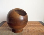 Mid Century Hellerware Wooden Nut Candy Orb Serving Bowl