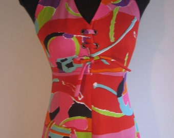 60s70s vtg long  halter graphic groovy dress