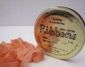 Peach Rayon Ribbon, Seam Binding, ONE Spool Trim, Knitting Ribbon, Half Inch Wide, Crocheting Ribbon, Peach Binding, Almost 100 Yards, Gemin