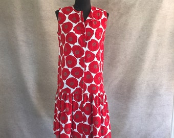 Vintage 60's Sleeveless Dress, Mod Floral, Bright RED and White, Mad Men, Women's Size XS to Small