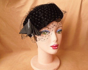 HAT SALE...Vintage 60's Black Hat, Fancy Velvet PillBox Topper with Rhinestones and Net, Rockabilly, Mid Century