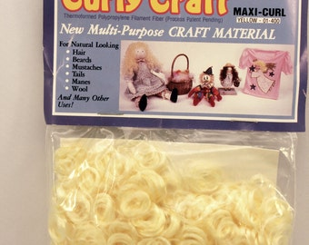 Doll Hair Curly Craft Blonde Yellow Maxi Curl Unused Vintage Covers 1 sq foot