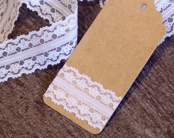 Decorative Adhesive Lace Tape - 24mm dainty flower trim fabric tape for wedding invitations, scrapbooking, gift wrapping