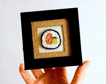 Sushi in a Mini Frame. Salmon Avocado Roll. Punchneedle Embroidery Fiber Art. Home, Office, Kitchen Decor. Harp and Thistle