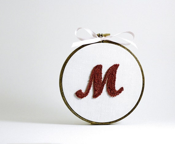 New Baby Personalized Initial, Custom Monogram Name Letter. Punchneedle Embroidery Hoop Wall Decor. Baby's Nursery. Pink and White.