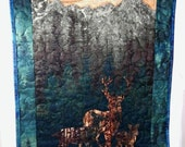 Deer Wall Hanging, Woodland Decor, Trees, Aspen Mountain, Quilted Wall Art, Made in Maine USA
