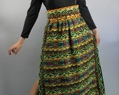 Vintage 60s 70s Women's Ethnic Boho Tribal Gypsy Maxi Fall Winter Hostess Dress