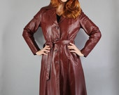 Vintage 70s Women's Oxblood Brown Long Leather Trenchcoat // Spring Leather Jacket