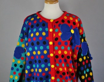 RESERVED RESERVED RESERVED Vintage 80s Women's Red Blue Modern Op Art Polka Dots Bold Conversation Kooky Rare Fall Winter Cardigan Sweater