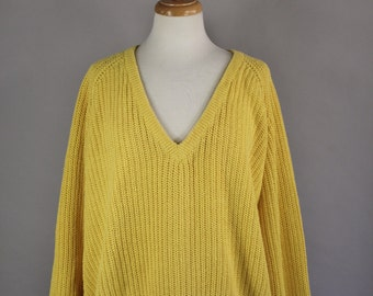 Vintage 80s Women's Bright Sunshine Yellow Ribbed V Neck Fall Winter Cozy Pullover Sweater