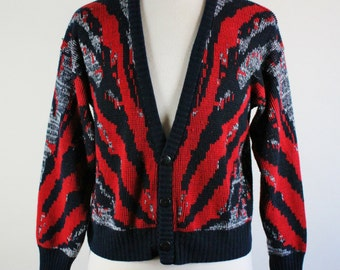 80s Tribal Sweater. Exotic Print Sweater. Tribal Cardigan. Red Navy Blue. Club Cardigan Sweater. Vintage. Medium. GOGOVINTAGE. FREE SHIPPING
