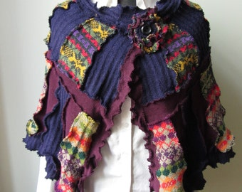 SALE Patchwork Shawl, Upcycled Sweater Coat, Patchwork Sweater Poncho, Eco Friendly Clothing, Fairisle Sweater, Purple Sweater Wrap, Hippie
