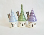 Fairy Houses -Set of 3- White Houses with Pastel - Purple, Blue and Green Roofs - Actual Set - Ready to Ship for Mothers Day