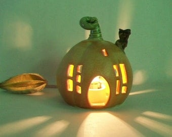 Pumpkin Fairy House / Night Light  - or Garden House -- Ready to Ship - Medium-Large  Size  --  Handmade, Wheel Thrown
