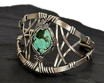 Turquoise Bracelet, Turquoise Cuff Bracelet, Wire Wrap Bracelet, Silver Turquoise Bracelet, Silver Bracelet, Turquoise Jewelry