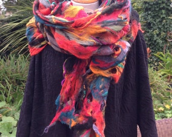 Multi colour Felted wool scarf shawl wrap scarf - cobweb felted wool - black red orange  fiber art to wear lagenlook