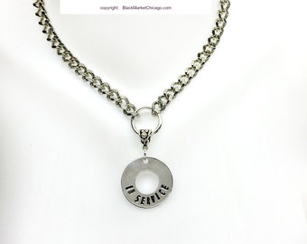 BDSM Collar IN SERVICE Engraved Necklace Rhodium Steel Chain with Padlock or Lobster Clasp Closure