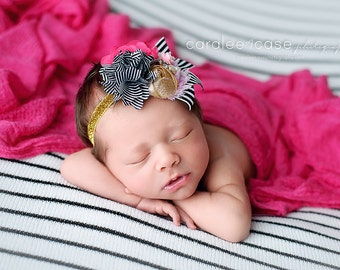 Heart's Content- black white and gold rosette satin and chiffon striped flower headband