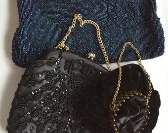 3 Vintage Purses - I. Magnin, Velvet Gate Top, Black Beaded