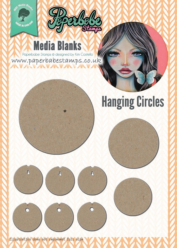 Mixed Media Blanks ~ Hanging Circles Kit ~ Paperbabe Stamps ~ MDF Substrate for mixed media and craft.