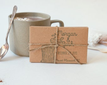 Hot cocoa favors for your winter celebration // Set of 20 // Custom stamp included..wedding favor, party favors