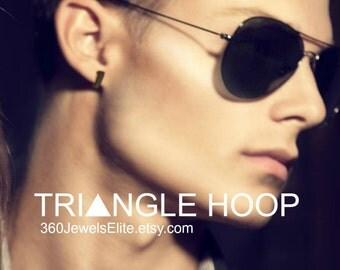 Custom gauged triangle hoop earrings, men's hoop earrings, ear cartilage piercing, upper earlobe, helix piercing, snug piercing, E230MBGauge