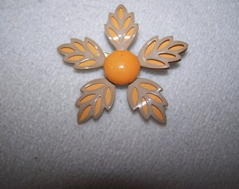 Beautiful Layered Leaf Orange Yello Flower Enamel on Metal Brooch