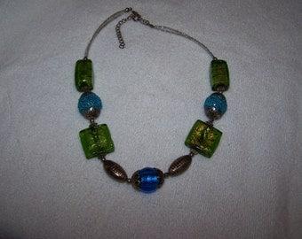 Beautiful Blue Green Brass Art Glass Necklace
