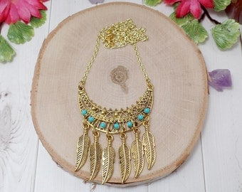 Bohemian Feather Necklace - Bohemian Tribal Necklace