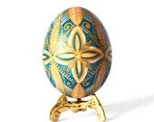 Acid etched brown chicken egg  ukrainian easter decorations,handmade eggs for Easter basket, good Friday traditions, blue aqua
