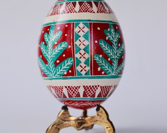 Christmas Pysanka Ukrainian Easter egg hand decorated chicken egg shell in batik wax-resis method ~Christmas ornaments ~ symbol of nature