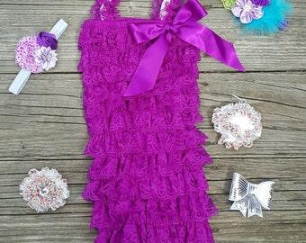Lace Romper Baby Romper Lace Petti Romper 1st Birthday Outfit Petti Lace Romper Toddler Romper Girls Romper Purple Romper Newborn Romper