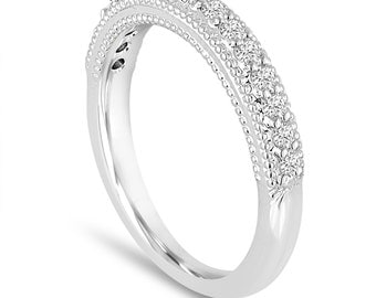 Platinum Diamond Wedding Band 0.22 Carat Handmade Milgrain Pave