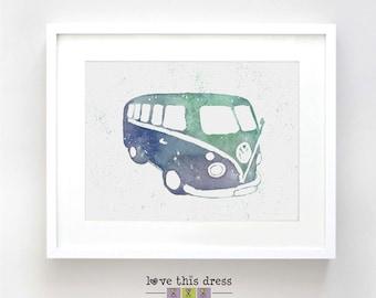 Retro Kombi Watercolor Illustration Blue and Green Print - Vintage Car Poster Art