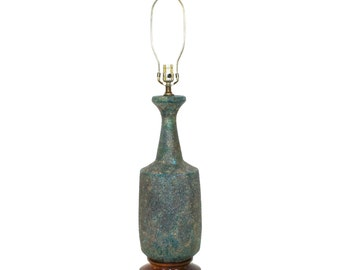 Mid-Century Modern Ceramic Lamp Blue Green Lava Glaze