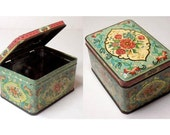 Floral Print Container, Square Daher Aqua & Pink Romantic Storage Box, Made in England, Rectangle Metal Jewelry Tin, 11101